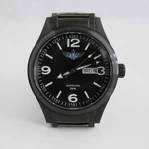 Airforce automatic wristwatch black case black dial