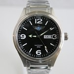 Airforce automatic wristwatch silver case black dial