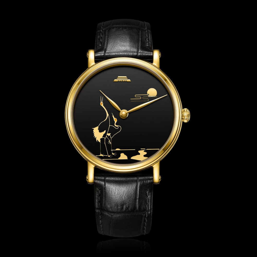 Gold Fairy Crane rising towards the sun BG951001 oriental culture series enamel wristwatch by Beijing watch factory limited edition 99 worldwide