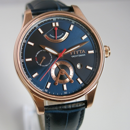 Fiyta Yachtsman series blue dial golden case automatic wristwatch GA867001.PLL