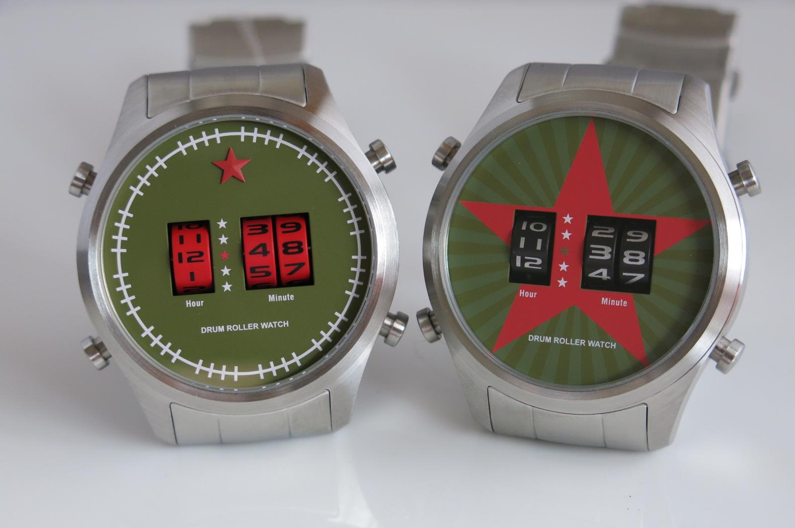 Fashionable Red Star drum roller quartz watch (Green)