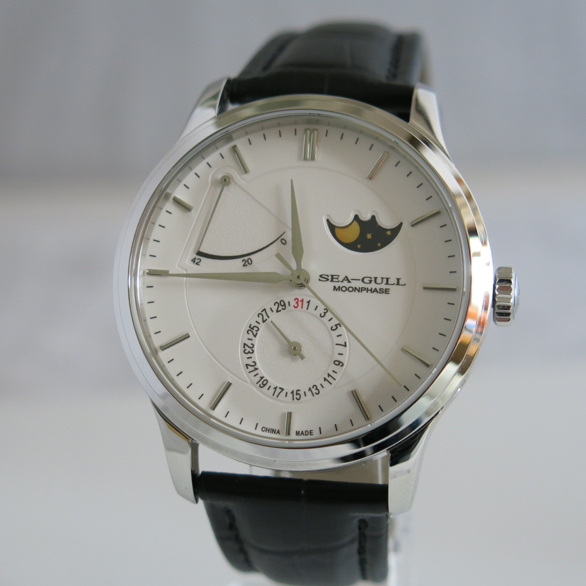 Sea-Gull 819.12.3002 moon phase automatic wristwatch with date and power reserve ST2153