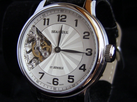 Beautiful Sea-Gull M222SK hand-winding skeleton pocket watch on wrist ST3600SK