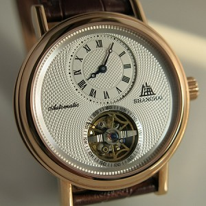 Rose gold Shanghai sub-dial small hands flying wheel automatic watch