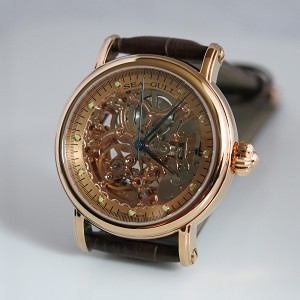 Sea-Gull M182SGK gold-colored skeleton automatic mechanical watch